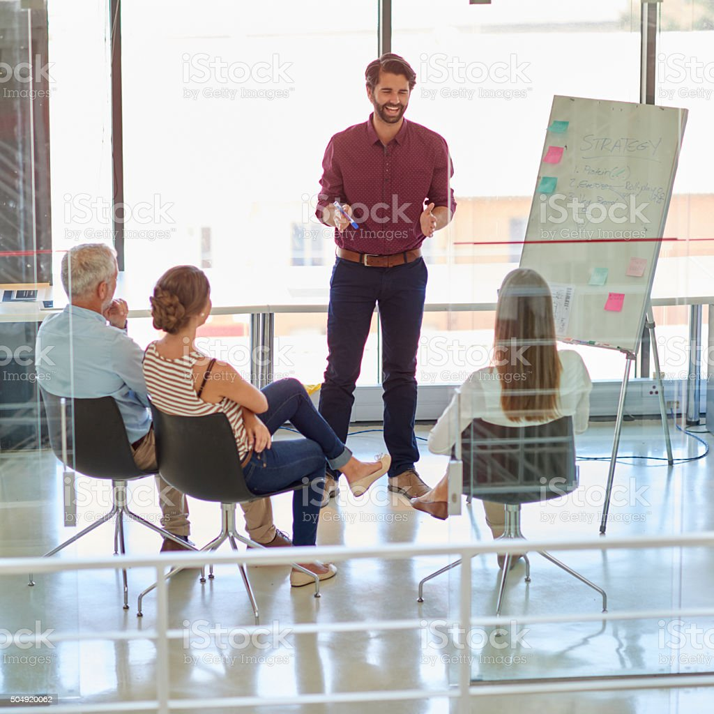 Business meeting with whiteboard stock photo