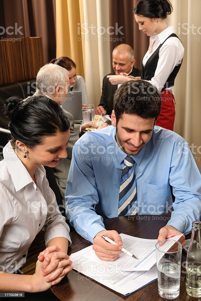 Business meeting young executives at restaurant royalty-free stock photo