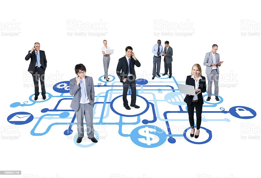 Business men and women stand on abstract design stock photo