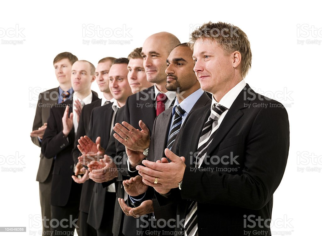 Business men clapping hands royalty-free stock photo