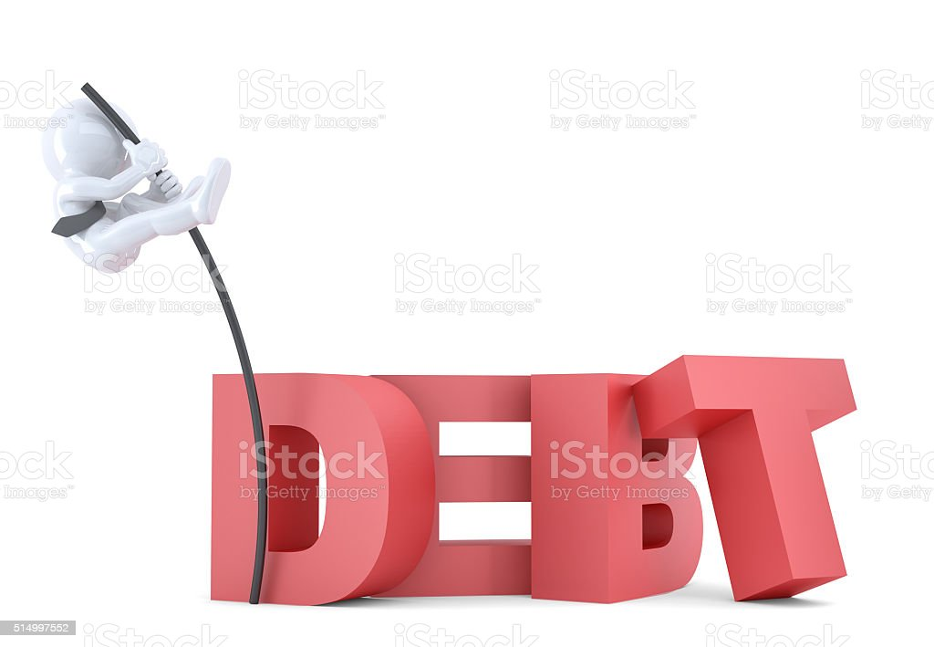 Business men jumping over 'debt' sign using high pole. Isolated stock photo