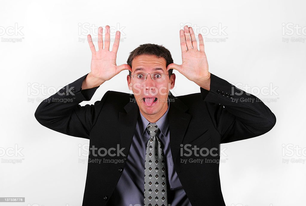Business men mock with his finger royalty-free stock photo