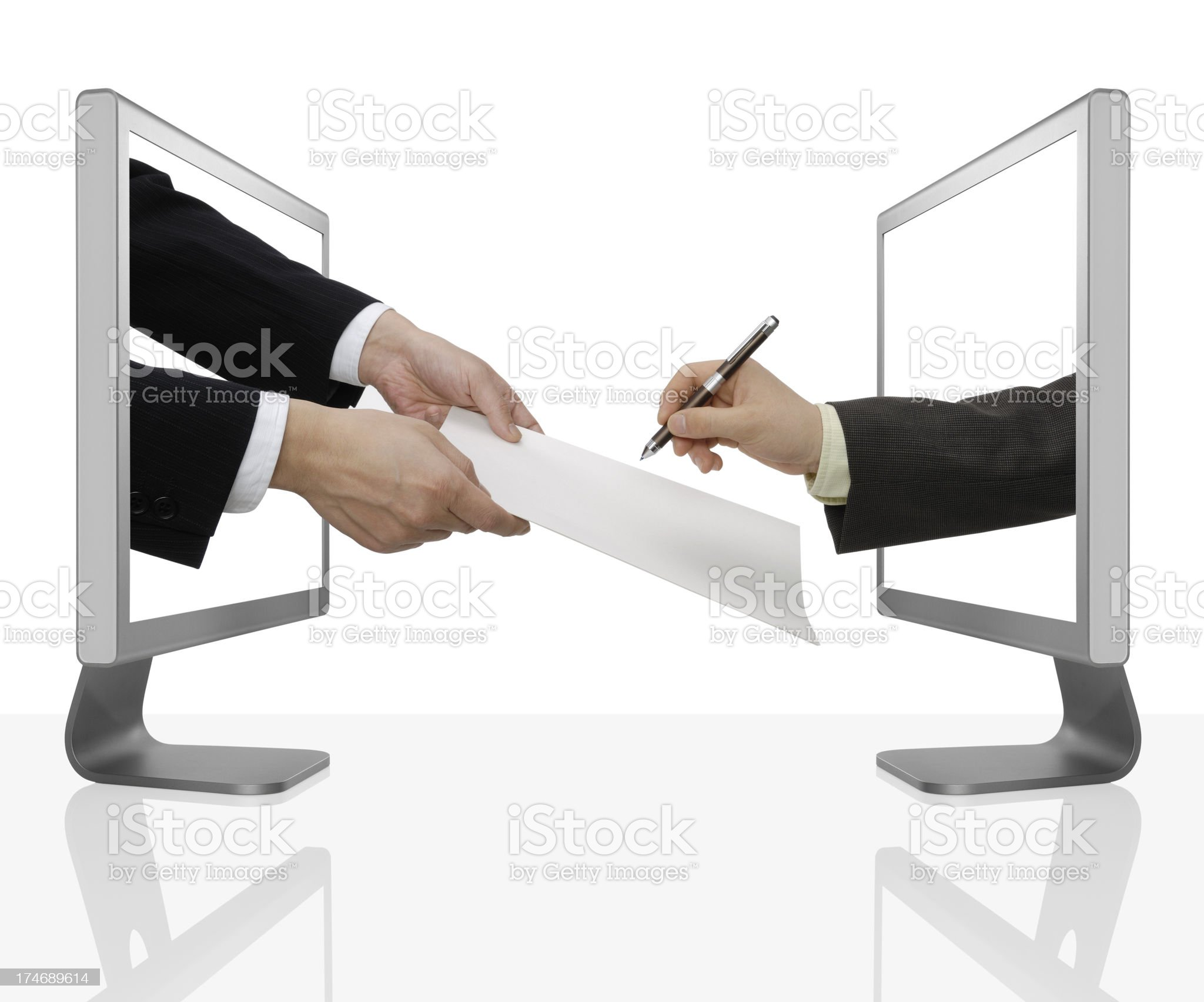 Business men signing royalty-free stock photo