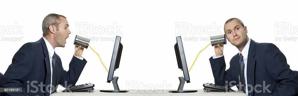Business men using tin can phone line  stock photo