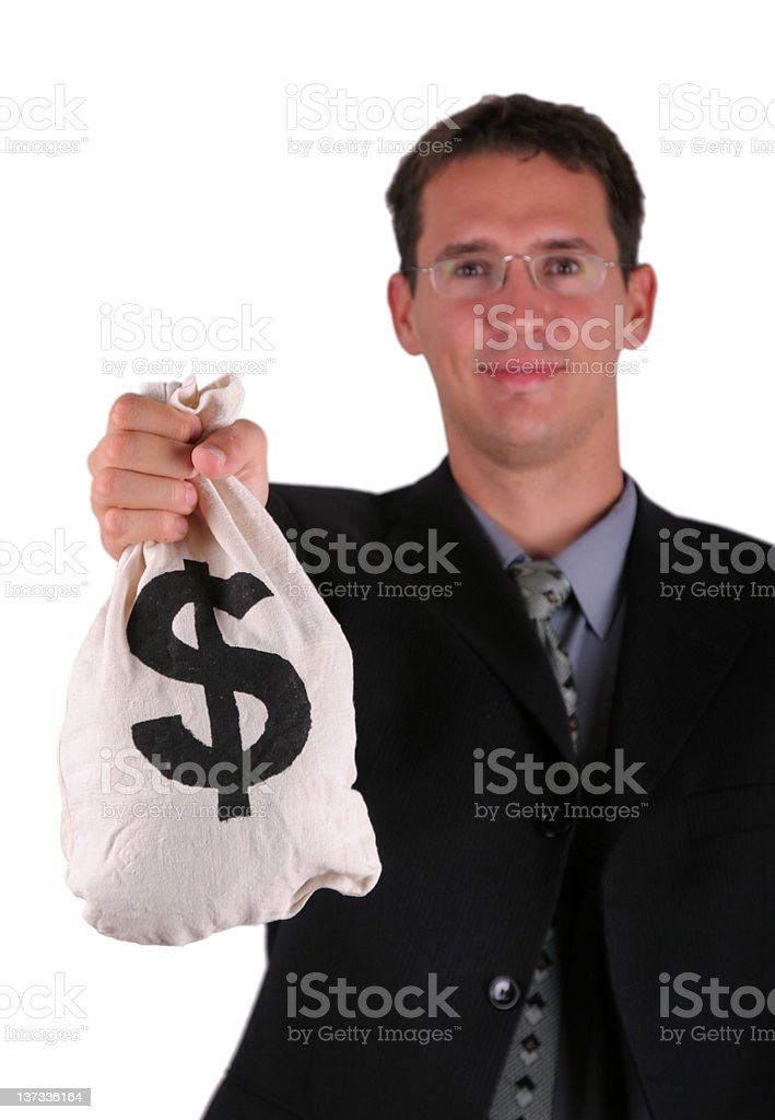 Business men with money bag royalty-free stock photo