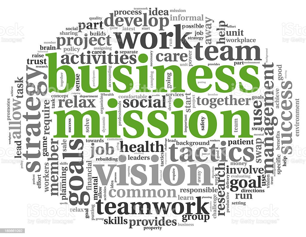 Business mission concept in word tag cloud stock photo