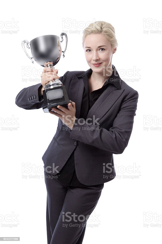 Business model with trophy stock photo