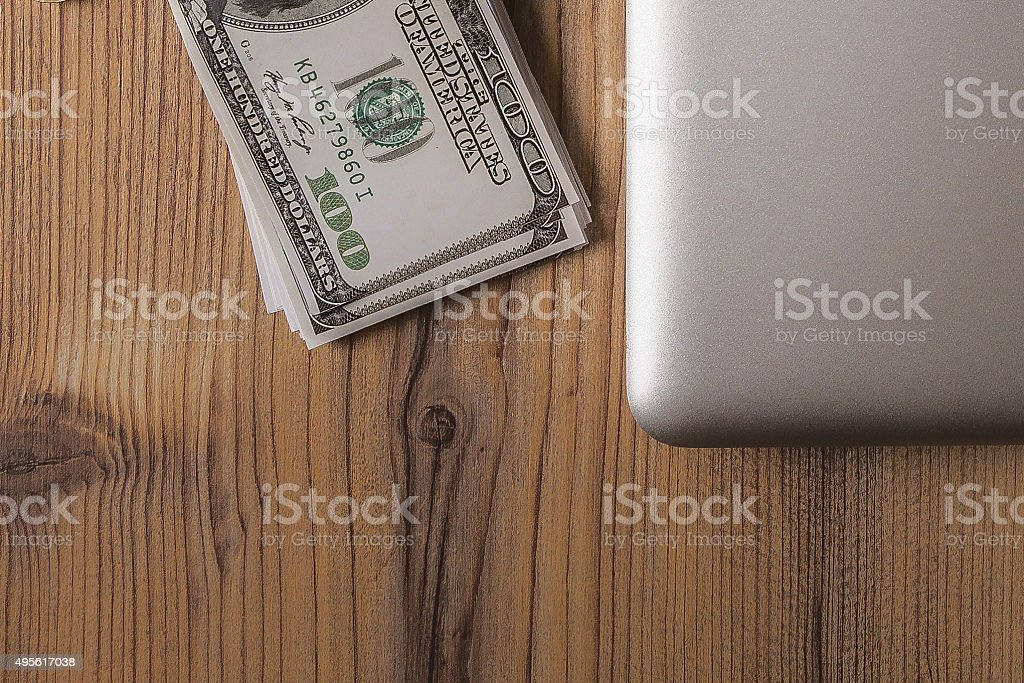 Business money laptop stock photo