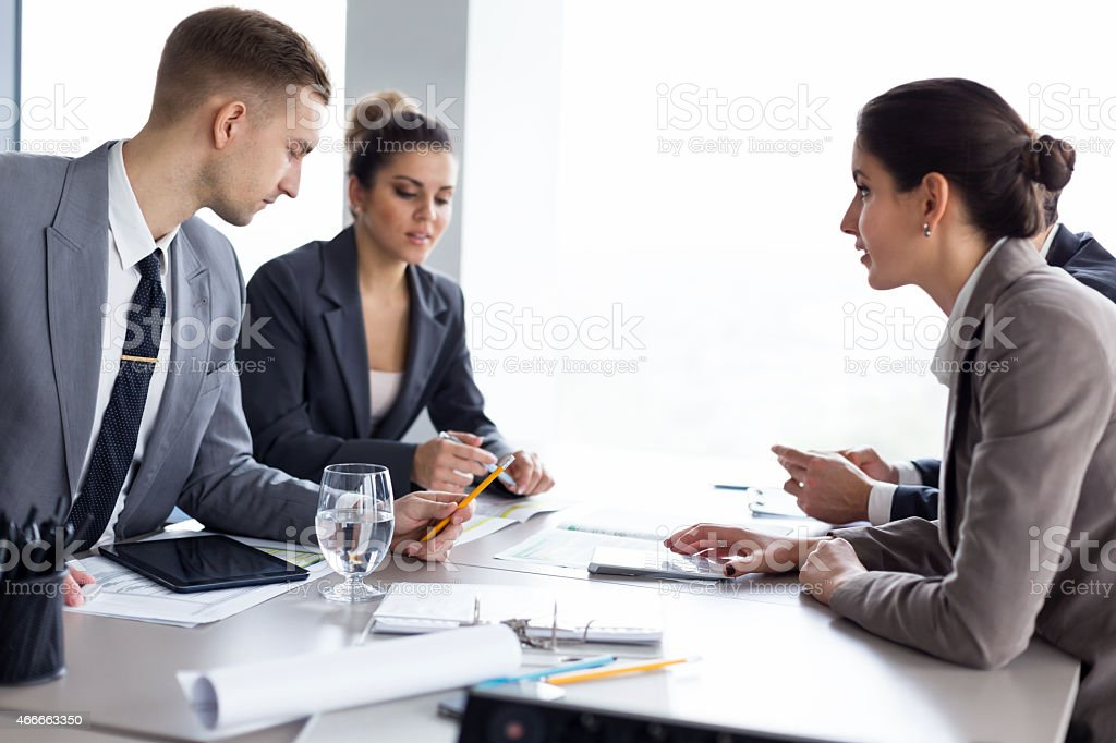 Successful business people on a negotiation meeting
