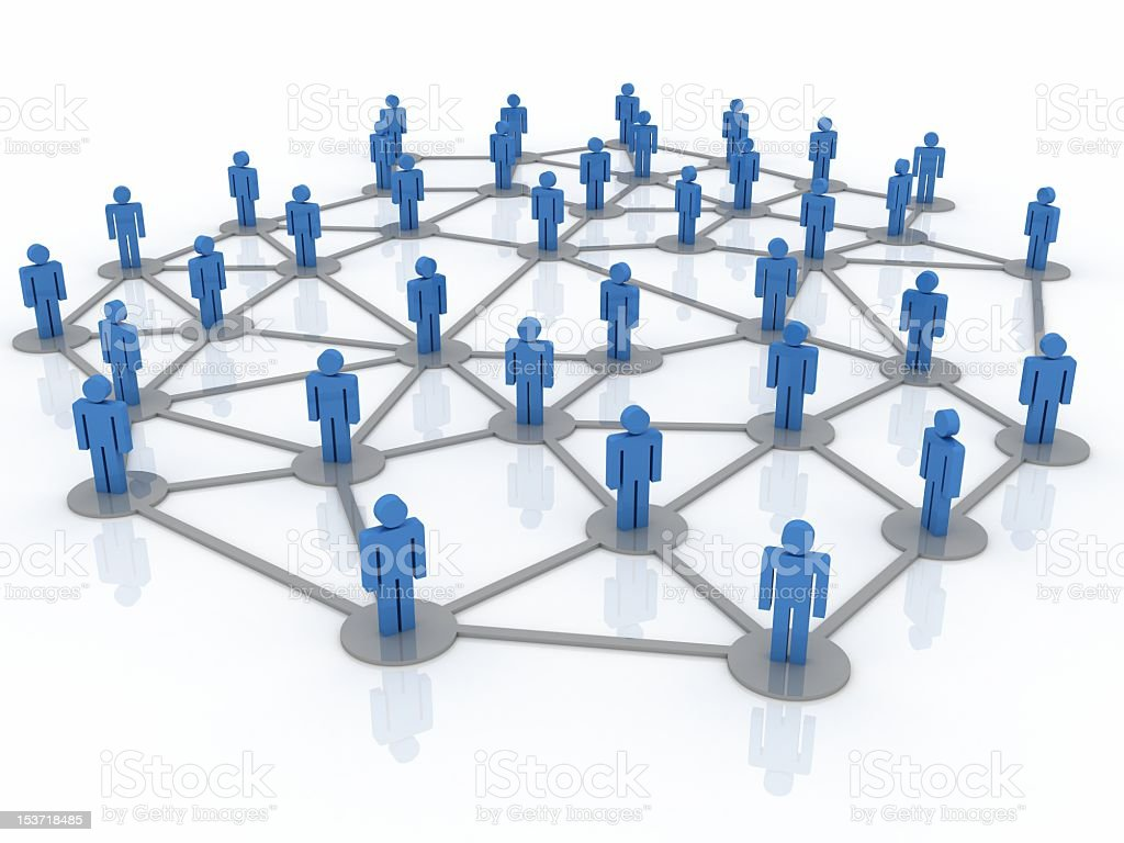 A business network drawing of models stock photo