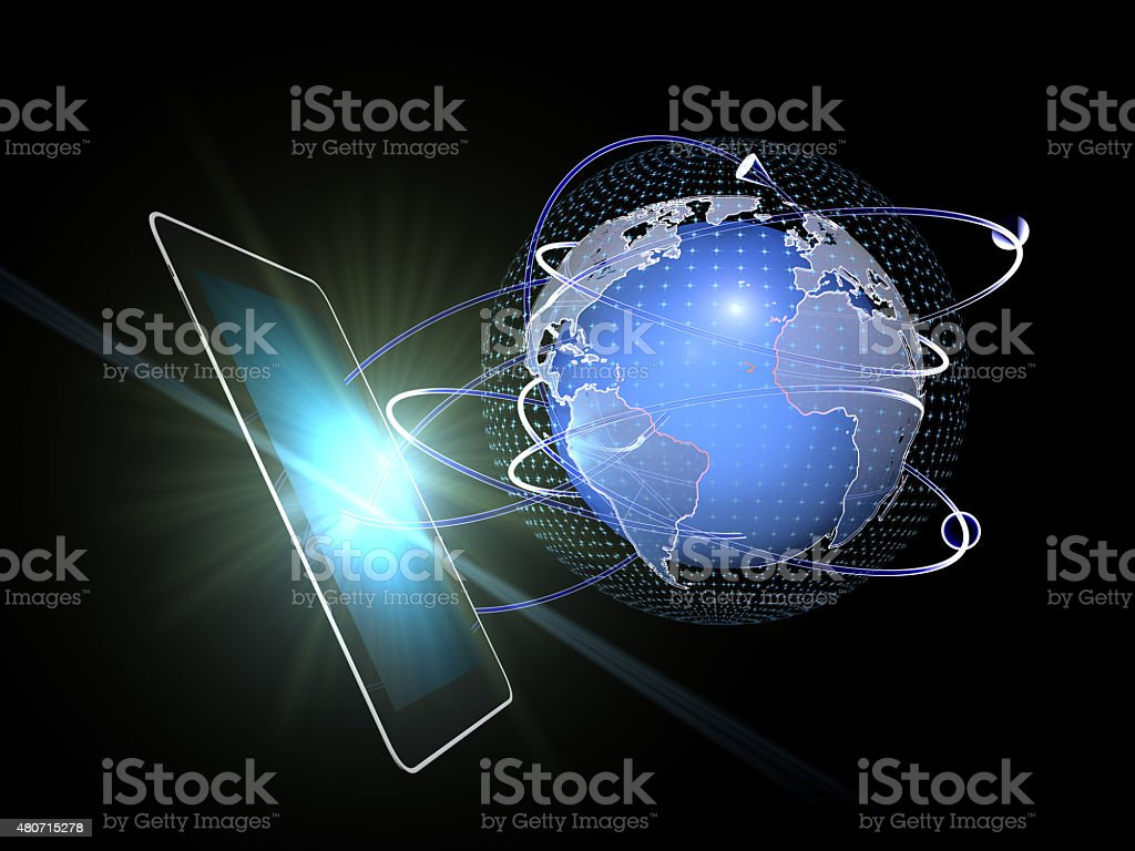 Business Network on Tablet PC stock photo