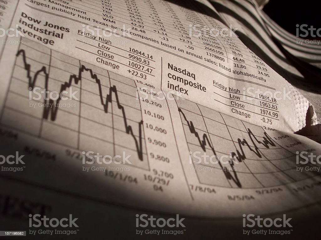 Business News Stock Charts from Newspaper stock photo