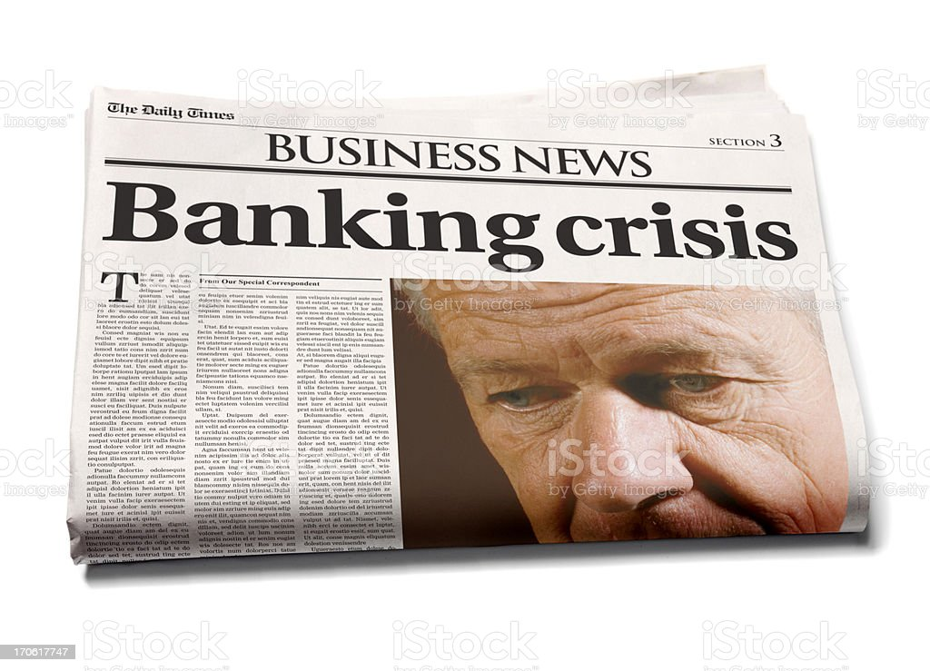 Business newspaper: Banking crisis stock photo