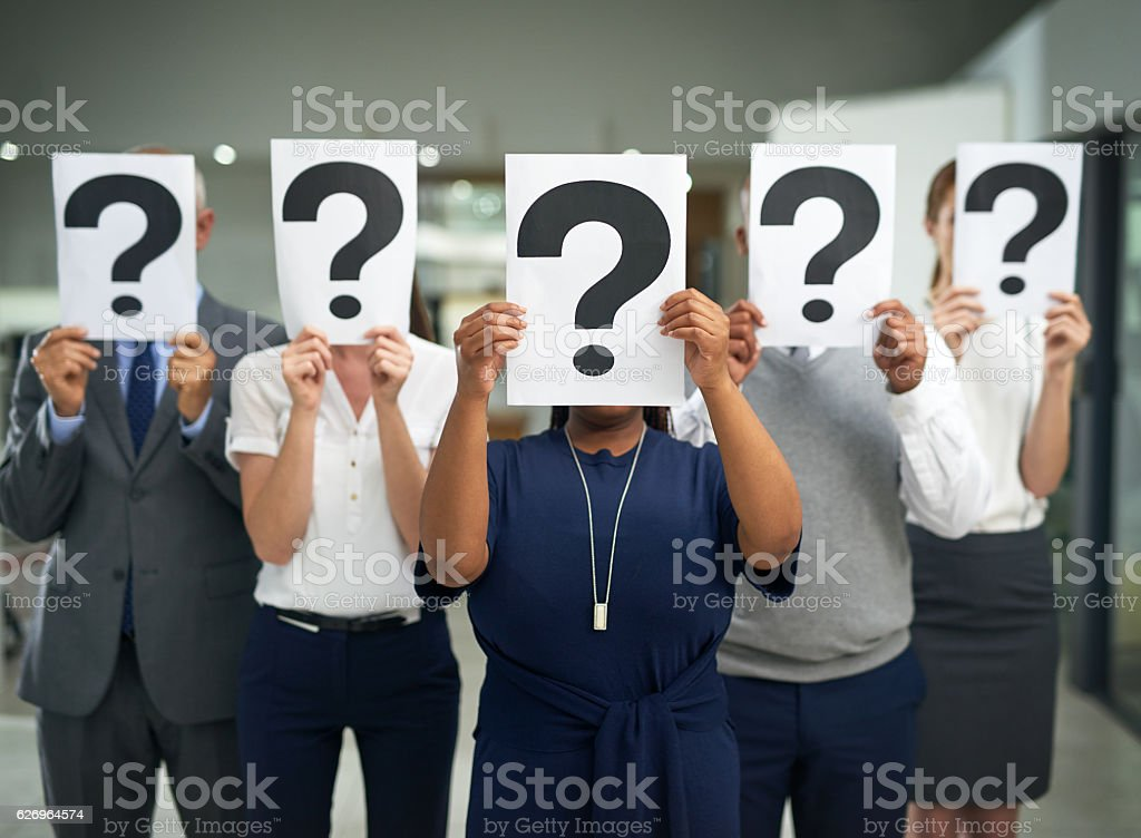Business often produces more questions than answers stock photo