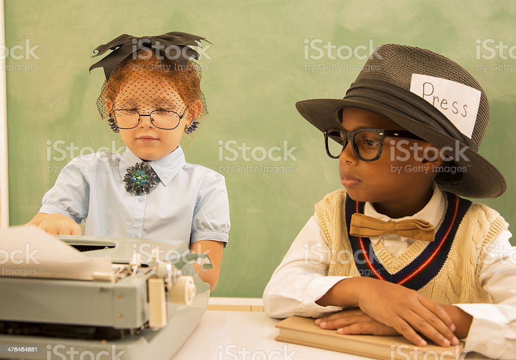 Business:  Old fashioned office.  Children as boss and secretary. royalty-free stock photo
