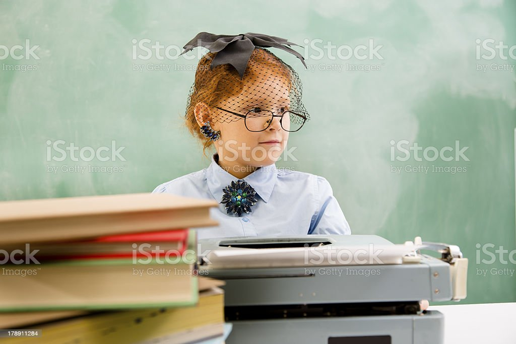Business:  Old fashioned office.  Retro revival secretary. royalty-free stock photo