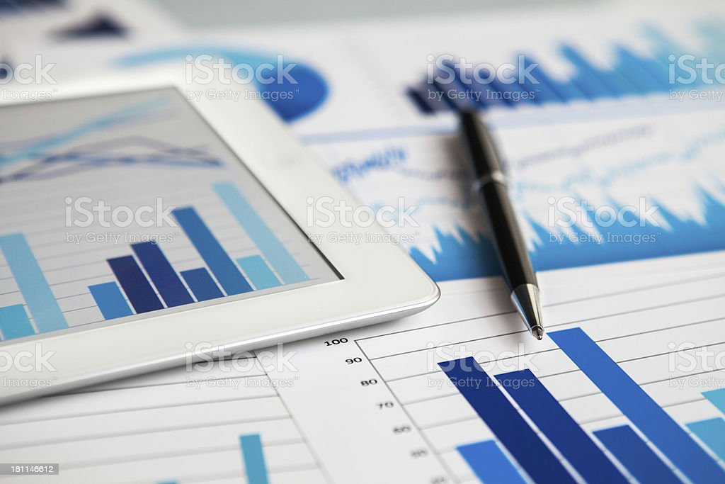 Business on digital tablet stock photo