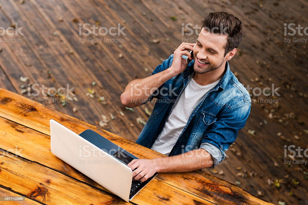Business on fresh air. stock photo