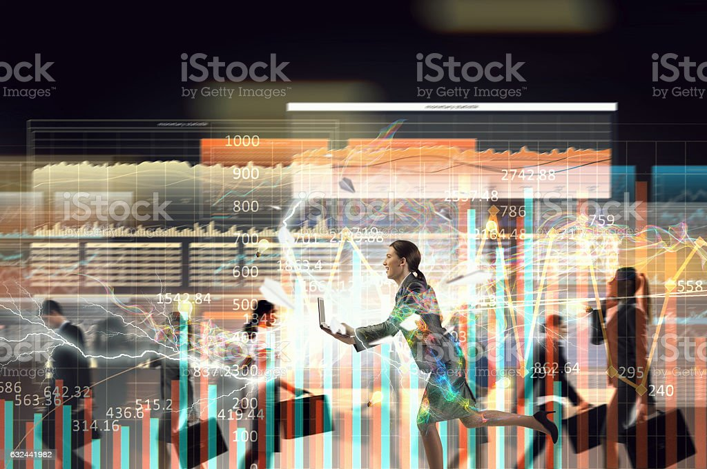 Business on the move . Mixed media stock photo