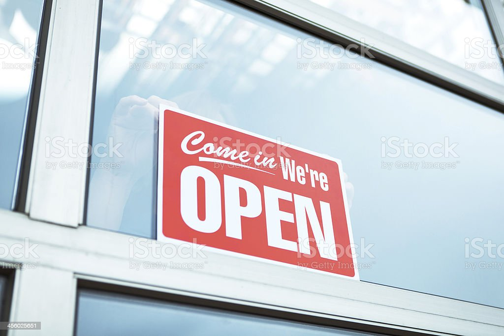 Business Opening Open Sign Display in Retail Store front stock photo