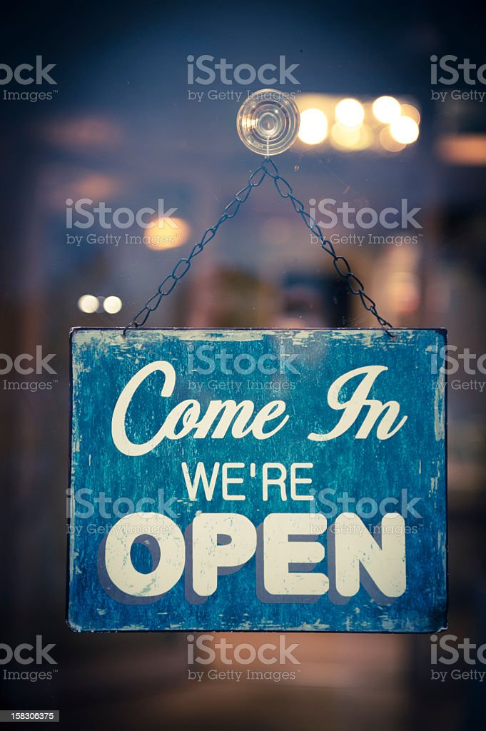Business Opening with Open Sign royalty-free stock photo
