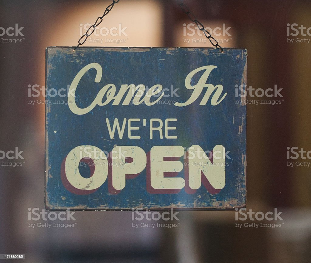 Business Opening with Open Sign stock photo