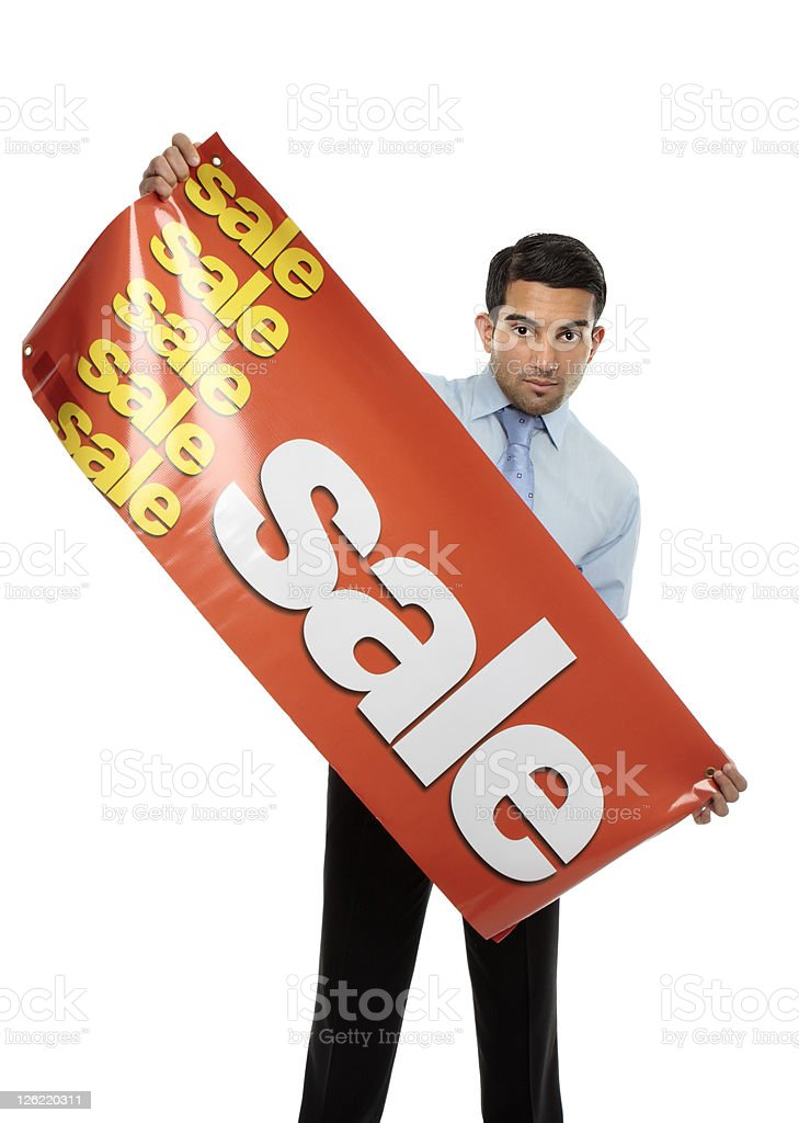 Business or salesman holding Sale Banner royalty-free stock photo