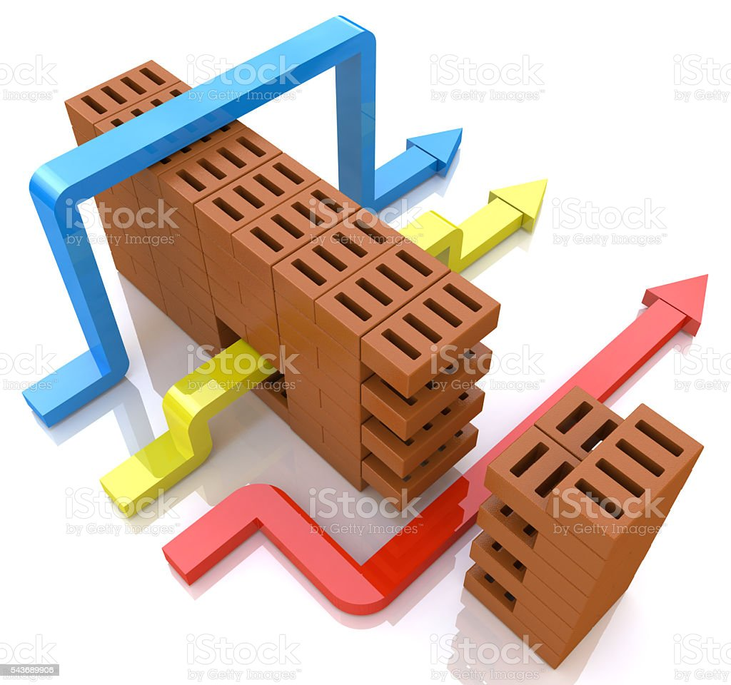 Business overcomes obstacles. conceptual illustration stock photo