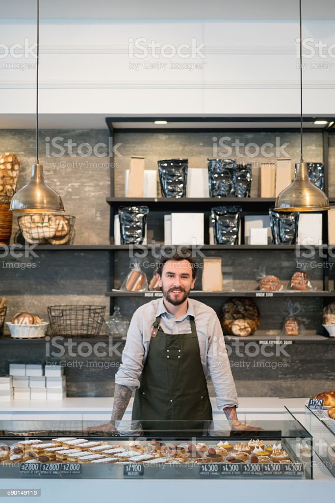 Business owner at a bakery stock photo