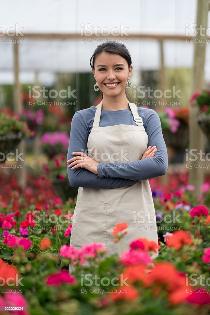 Business owner at a greenhouse stock photo