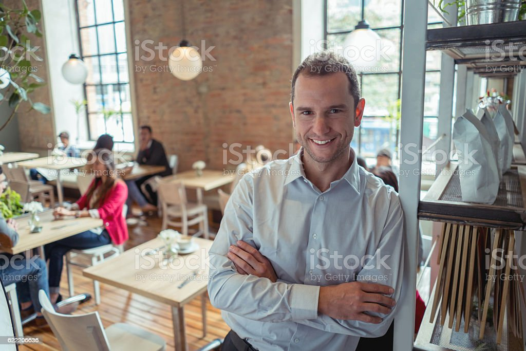 Business owner at a restaurant stock photo