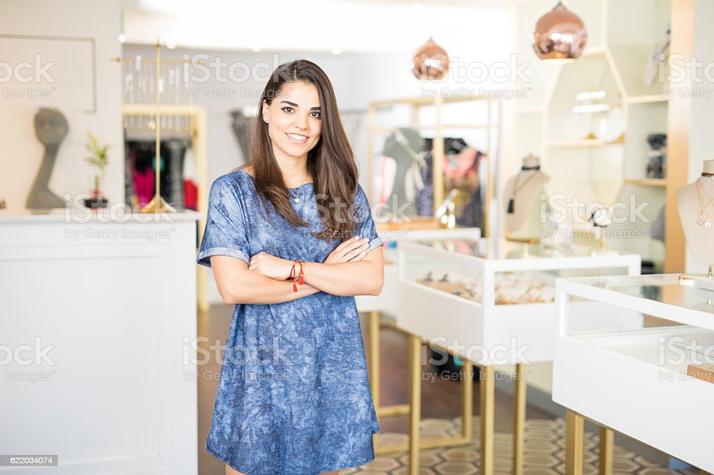 Business owner in a jewelry shop stock photo