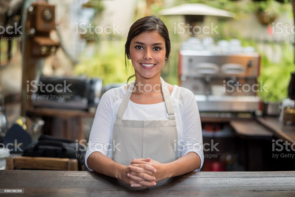 Business owner of a coffee shop stock photo