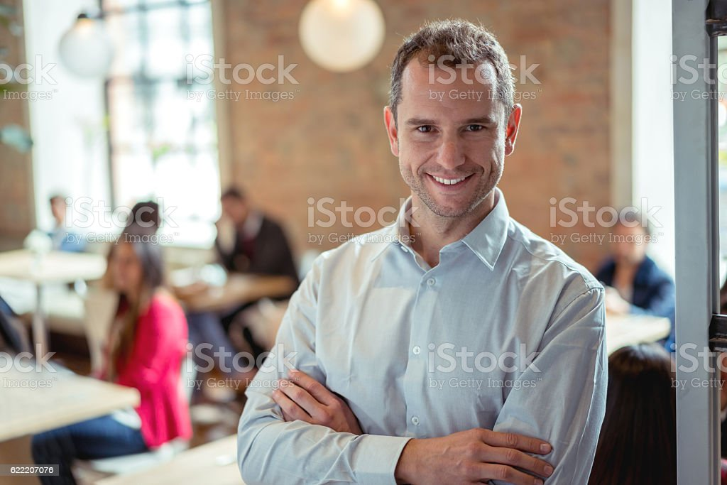 Business owner running a restaurant stock photo