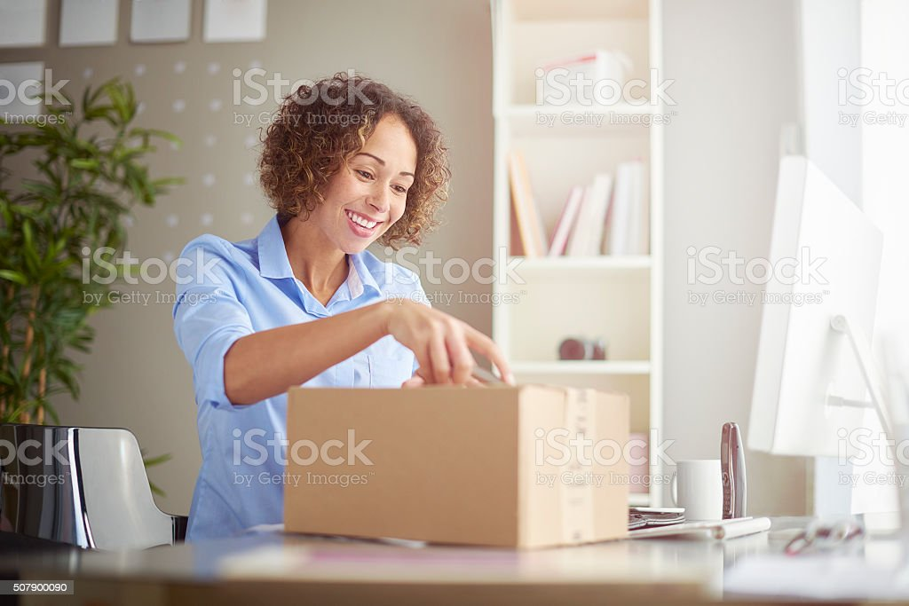 business parcel arrived stock photo