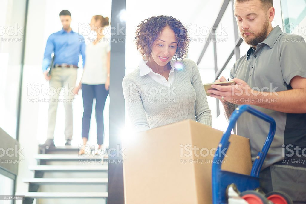 business parcel courier delivery stock photo