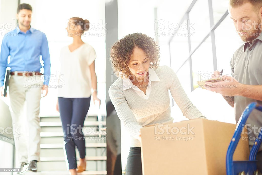 business parcel courier stock photo