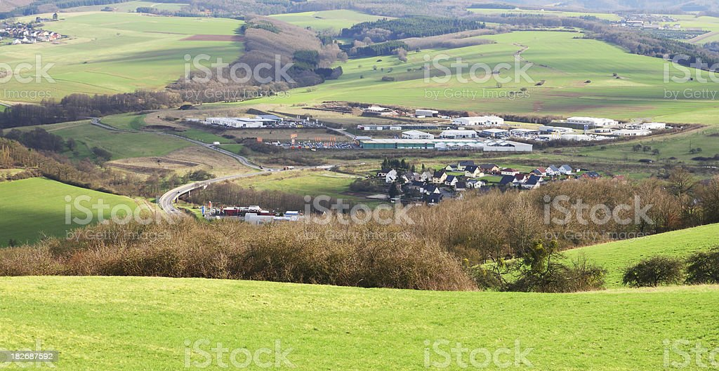 Business Park and Village in Valley royalty-free stock photo
