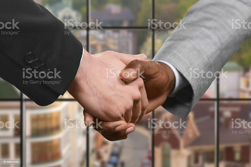 Business partners' handshake at daytime. stock photo