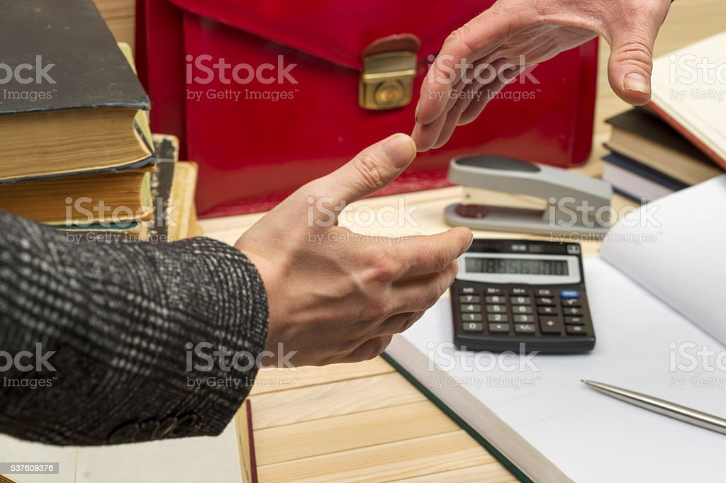 Business partners handshaking after signing contract. Pertnership. stock photo