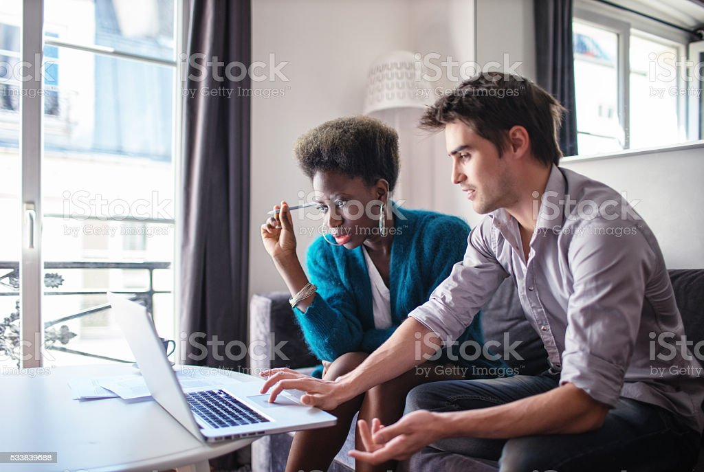 Business partners working at home stock photo