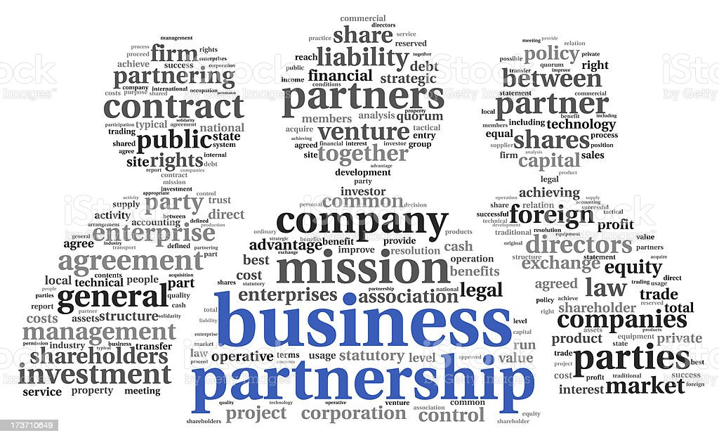 Business partnership  concept in tag cloud royalty-free stock photo