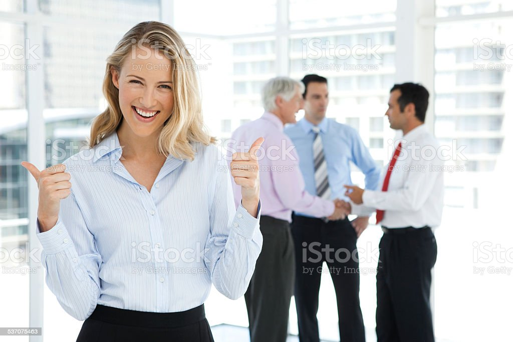 Business partnership is successful stock photo