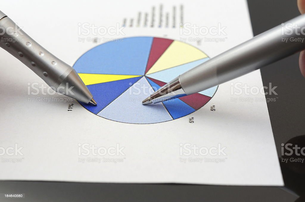 business people analyzing market report on pie chart royalty-free stock photo