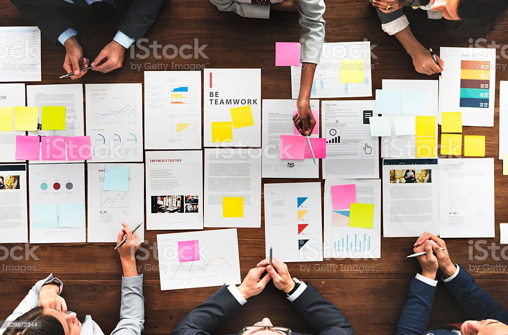 Business People Analyzing Statistics Financial Concept stock photo
