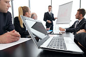 Business people and financial reports