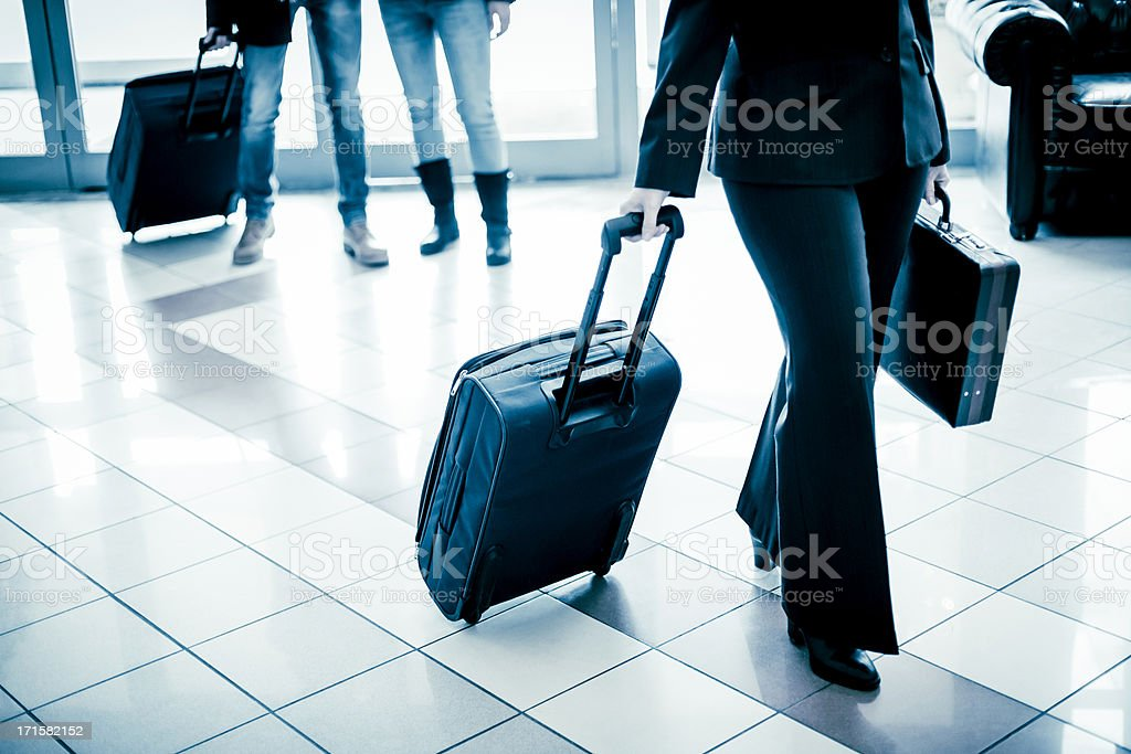 Business people arriving at the hotel stock photo