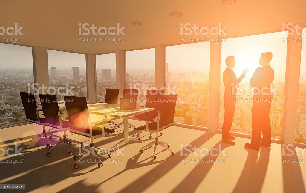 Business people aspirations, talking about the future stock photo