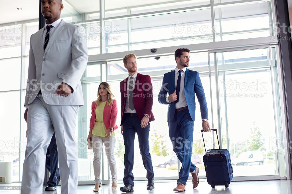 Business people at airport stock photo