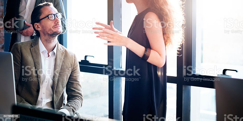 Business People Busy Working Talking Concept stock photo